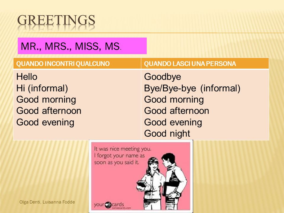 Greetings MR., MRS., MISS, MS. Hello Hi (informal) Good morning