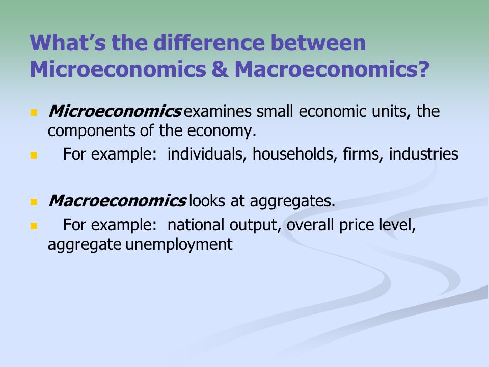 similarities between microeconomics and macroeconomics Differences between microeconomics and macroeconomics, although, at times, it may be hard to separate the functions of the two microeconomics and macroeconomics are the two major categories within the field of economics.