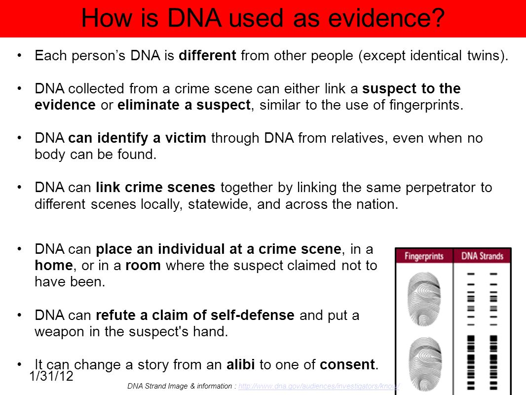 dna and evidence Dna technology is rapidly becoming the method of choice when it comes to linking individuals with crime scenes and criminal assaults dna evidence is increasingly used in criminal trials, and has also become a powerful tool in proving the innocence of wrongly-convicted prisoners (for more on dna.