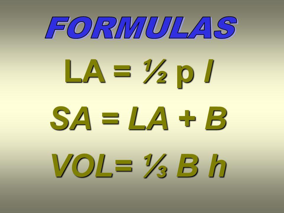 LA = ½ p l SA = LA + B VOL= ⅓ B h