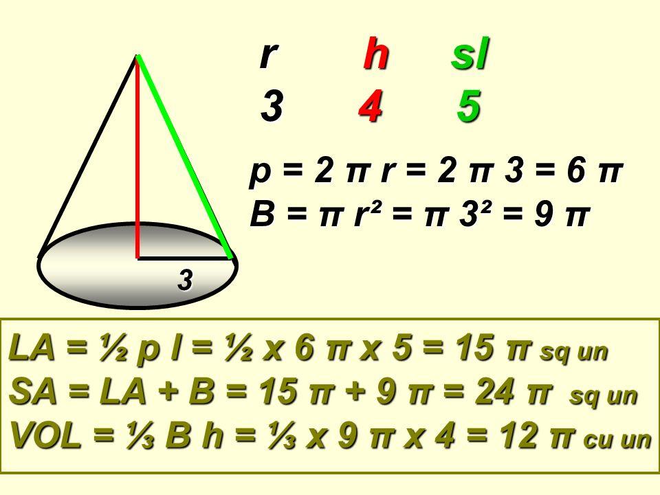 r h sl 3 4 5 p = 2 π r = 2 π 3 = 6 π B = π r² = π 3² = 9 π