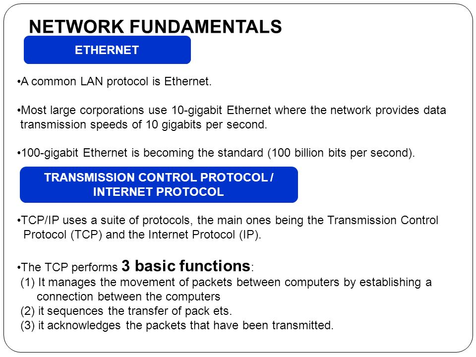 the functions of transmission control protocol internet Transmission control protocol/internet protocol (tcp/ip) is the language a computer uses to access the internet it consists of a suite of protocols designed to establish a network of networks to provide a host with access to the internet.