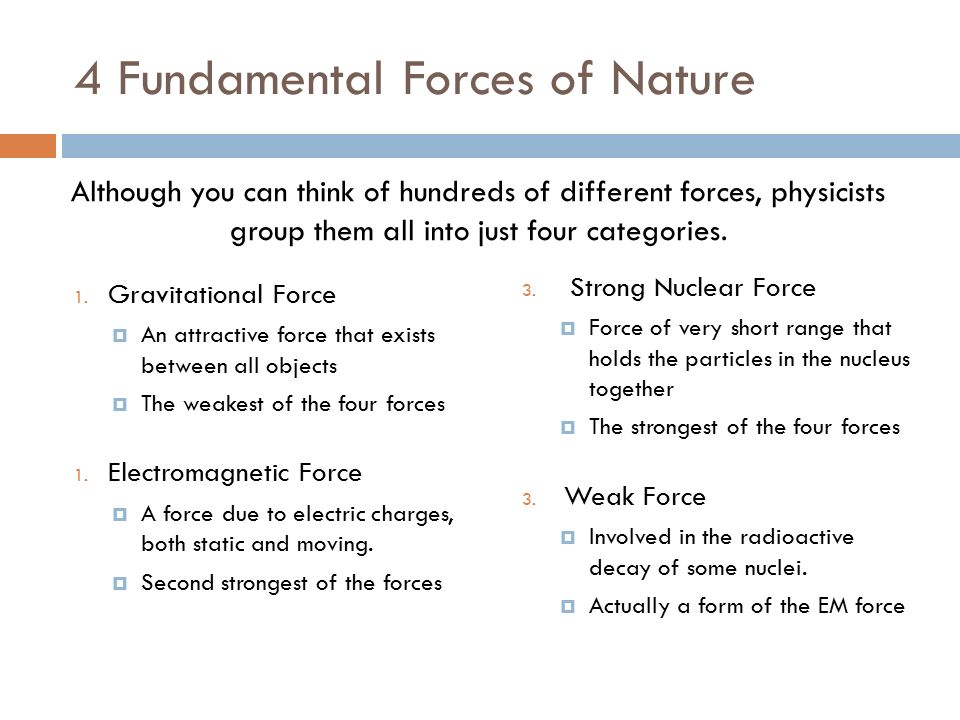 the four fundamental forces of nature The fundamental forces (or fundamental interactions) of physics are the ways that individual particles interact with each other it turns out that for every single interaction observed taking place in the universe can be broken down to be described by only four (well, generally four—more on that.