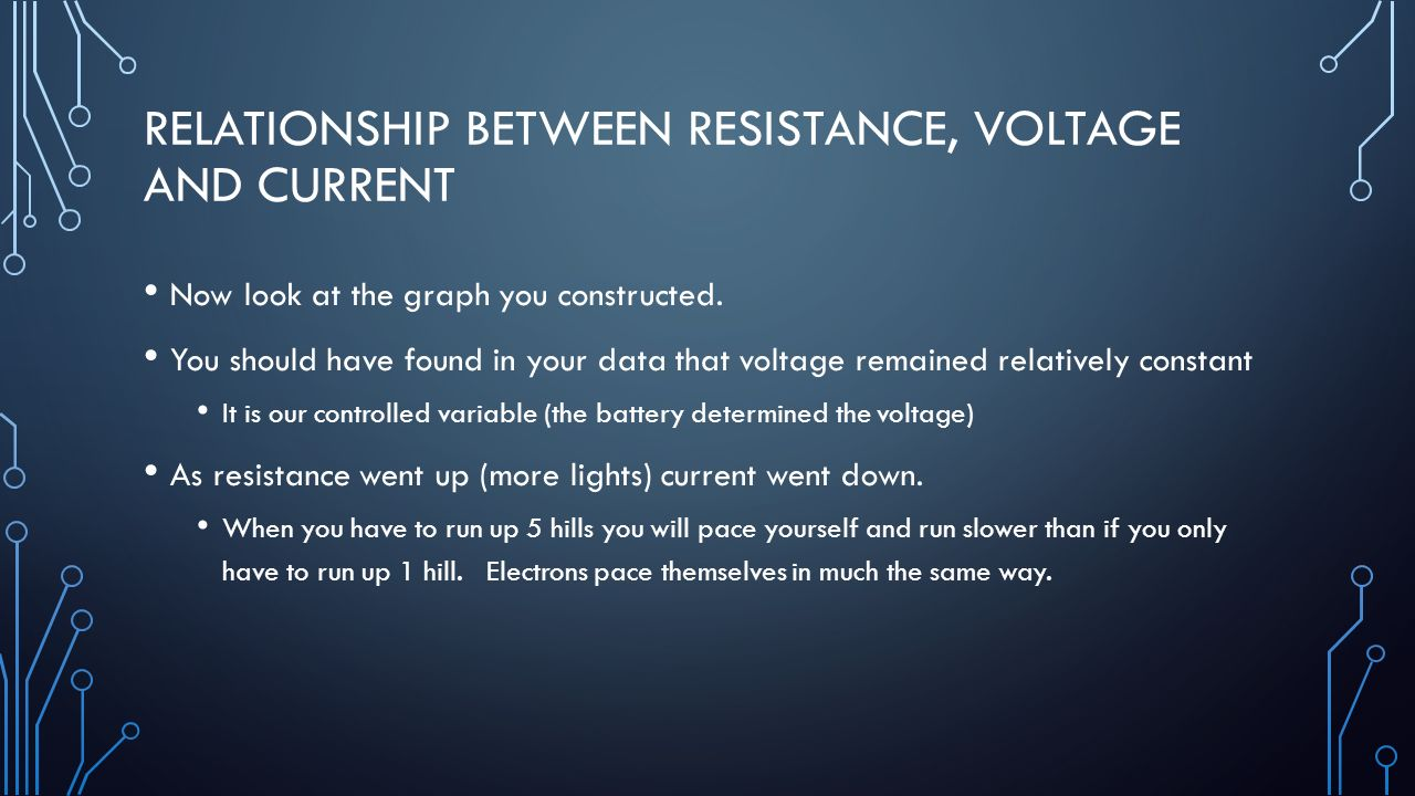 the relationship between voltage current and resistance 2 essay The current is greatest where the resistance is least and the current is least where the resistance is greatest mathematical analysis of parallel circuits the above principles and formulae can be used to analyze a parallel circuit and determine the values of the current at and electric potential difference across each of the resistors in a parallel.