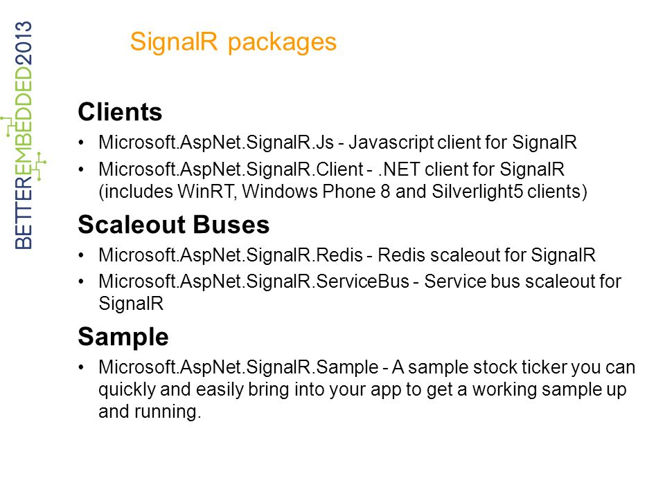 SignalR packages Clients Scaleout Buses Sample