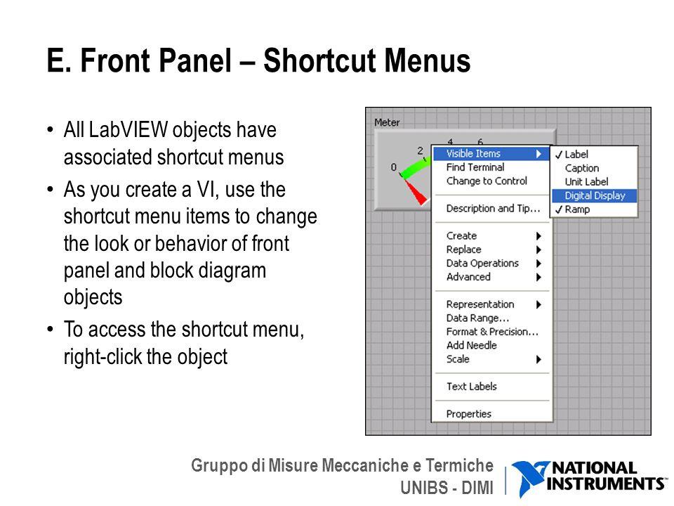 E. Front Panel – Shortcut Menus