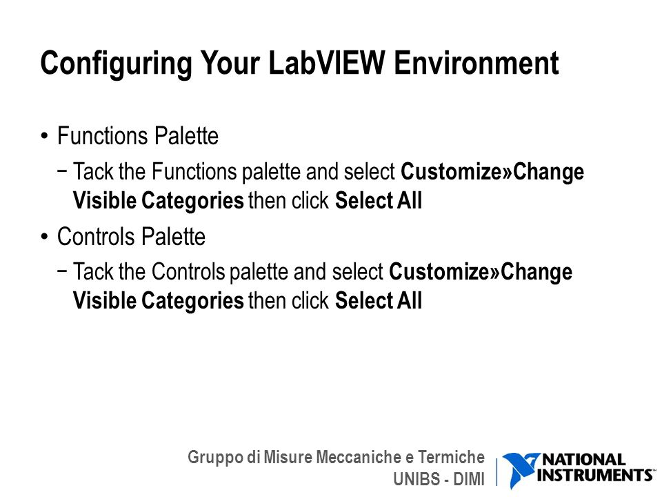 Configuring Your LabVIEW Environment