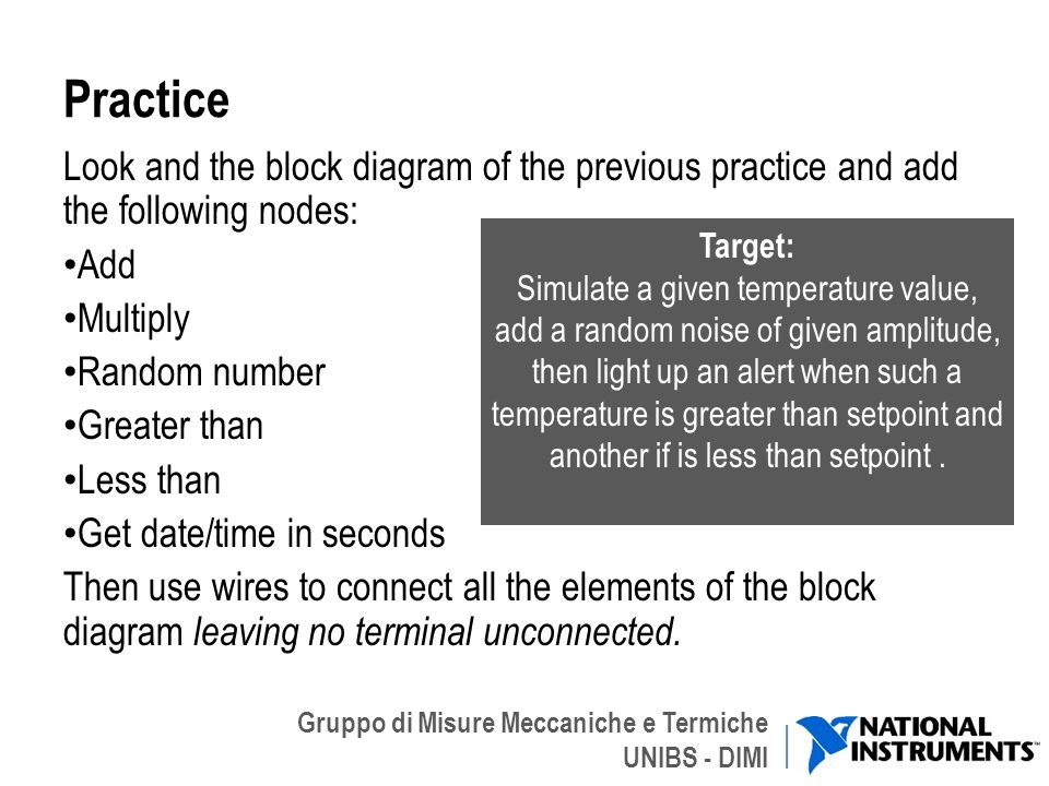 Practice Look and the block diagram of the previous practice and add the following nodes: Add. Multiply.