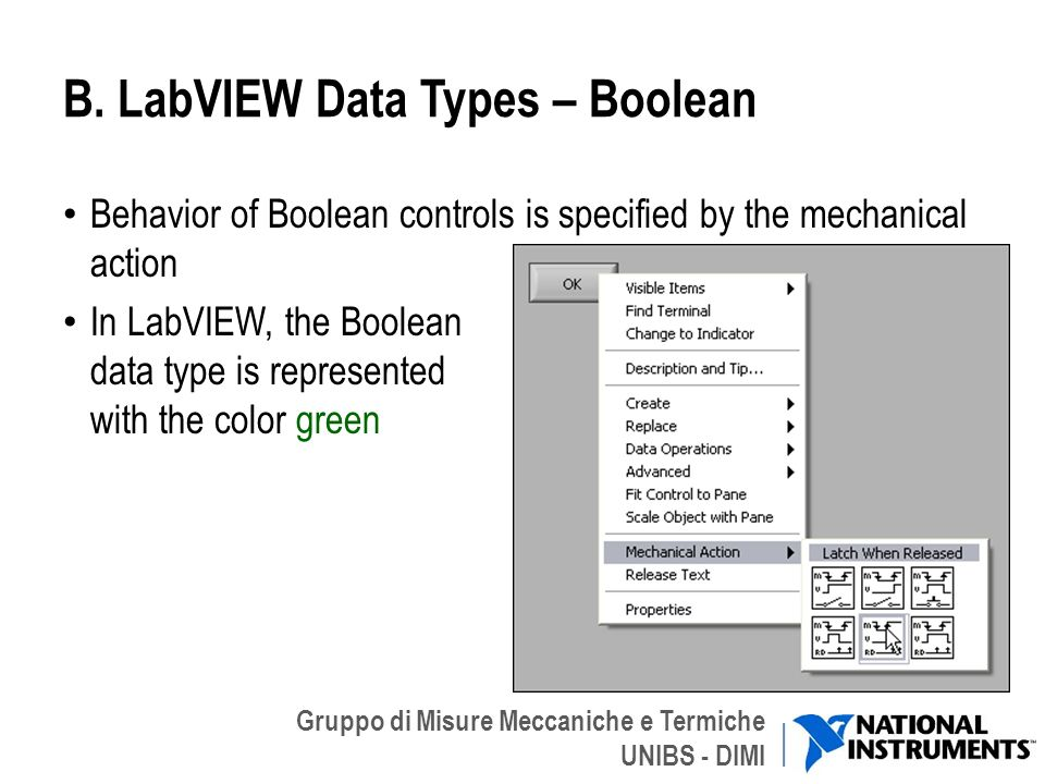 B. LabVIEW Data Types – Boolean