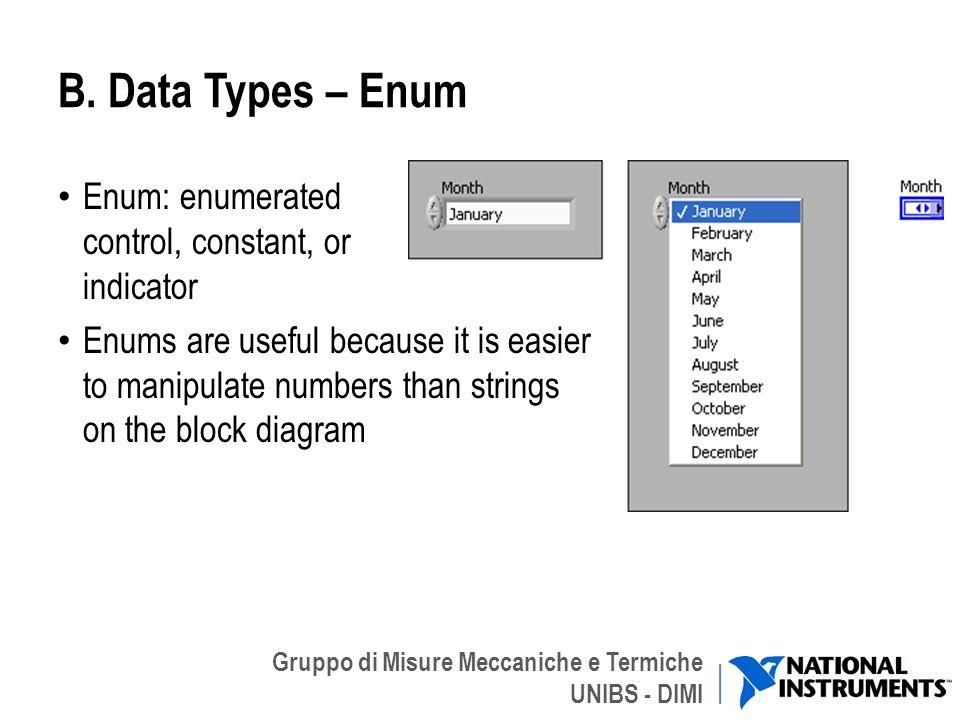 B. Data Types – Enum Enum: enumerated control, constant, or indicator