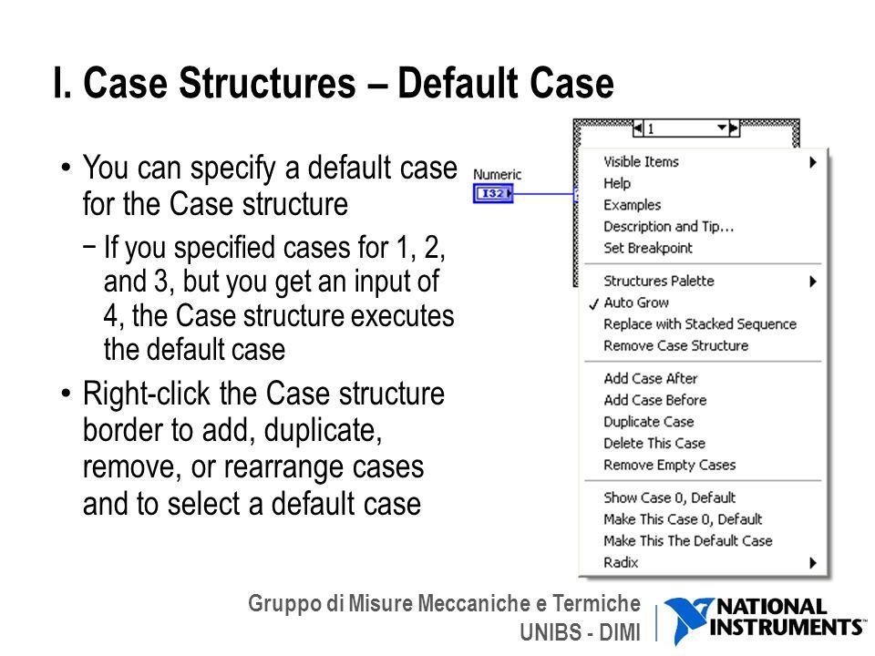 I. Case Structures – Default Case
