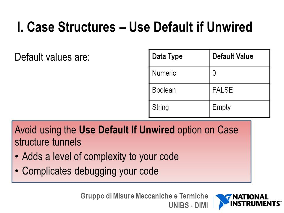 I. Case Structures – Use Default if Unwired