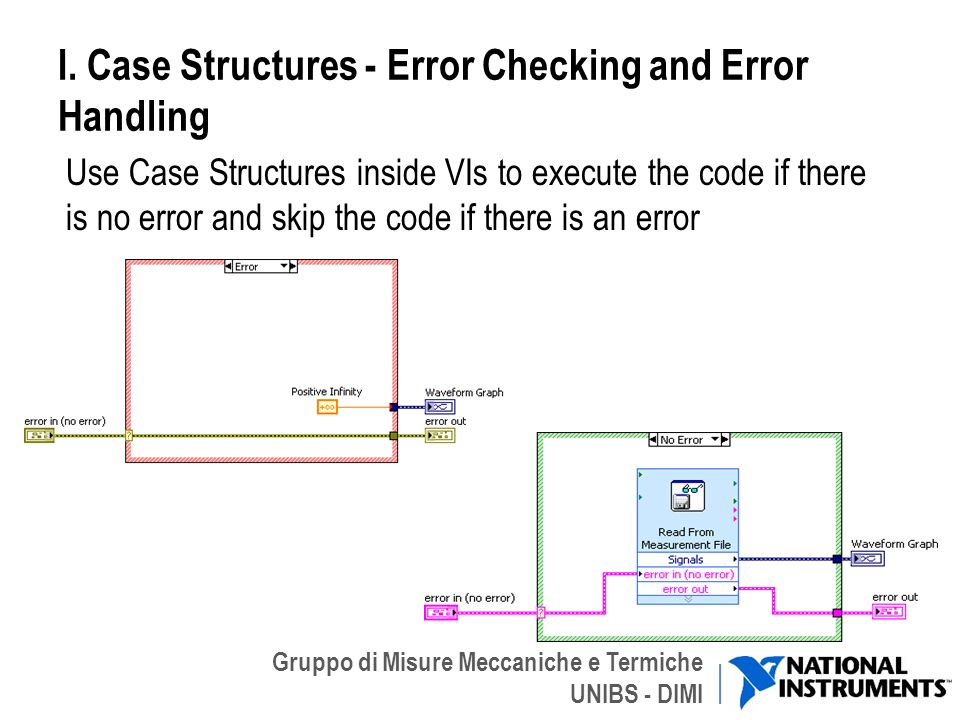 I. Case Structures - Error Checking and Error Handling