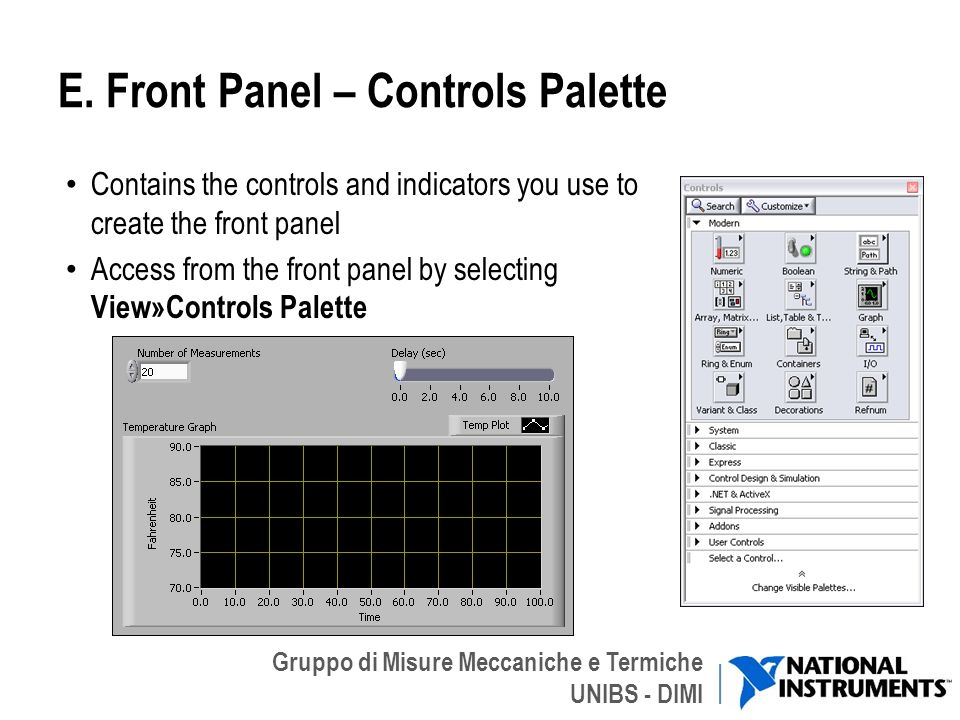 E. Front Panel – Controls Palette