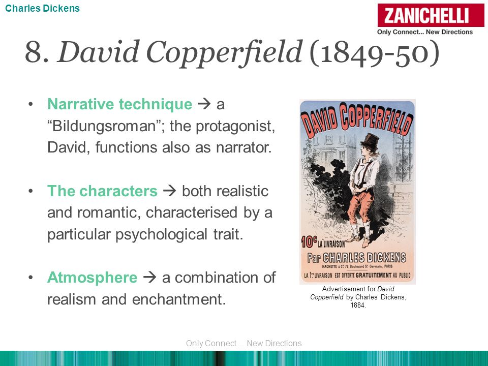 Charles Dickens 8. David Copperfield (1849-50) Narrative technique  a Bildungsroman ; the protagonist, David, functions also as narrator.