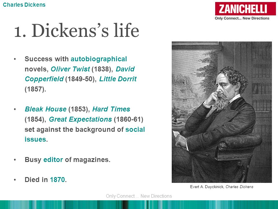 Charles Dickens 1. Dickens's life. Success with autobiographical novels, Oliver Twist (1838), David Copperfield (1849-50), Little Dorrit (1857).