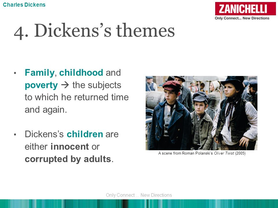 Charles Dickens 4. Dickens's themes. Family, childhood and poverty  the subjects to which he returned time and again.