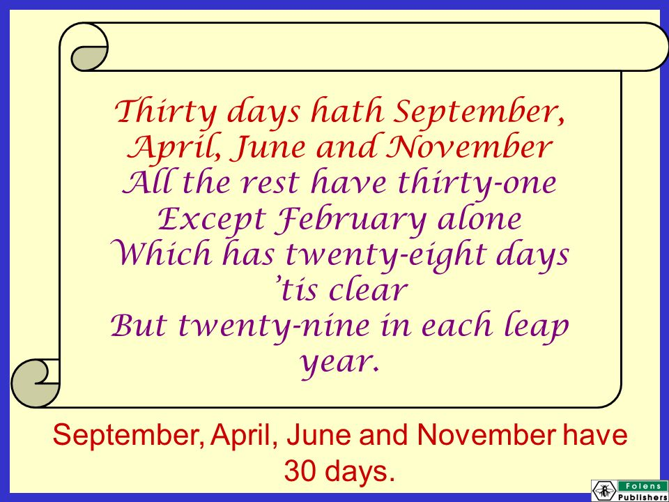 graphic about Thirty Days Hath September Poem Printable named 30 Times Hath Comparable Key terms Tips - 30 Times Hath
