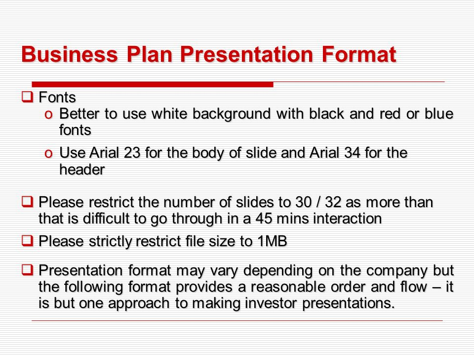 Business plan presentation order