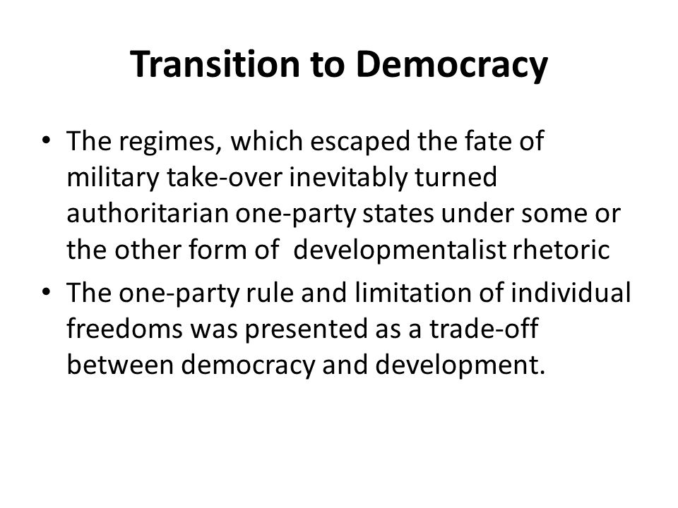 the transition to democracy The transition to democracy in bulgaria is commonly defined as a coup d'état carried out by the bulgarian communist party (bcp) elites against the.