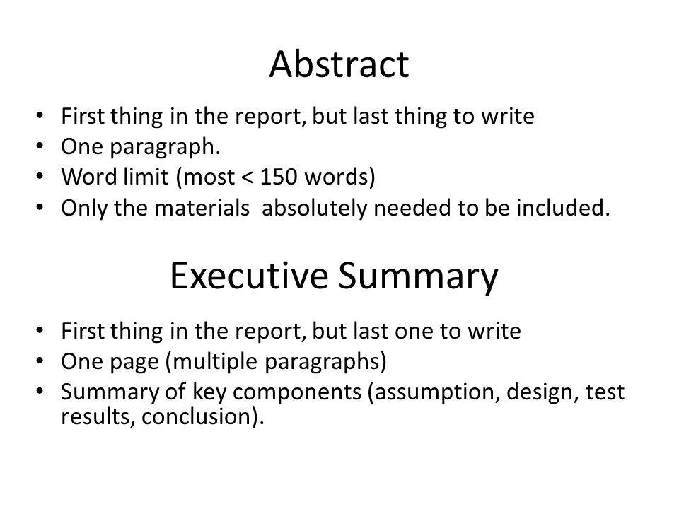 how to write an executive abstract