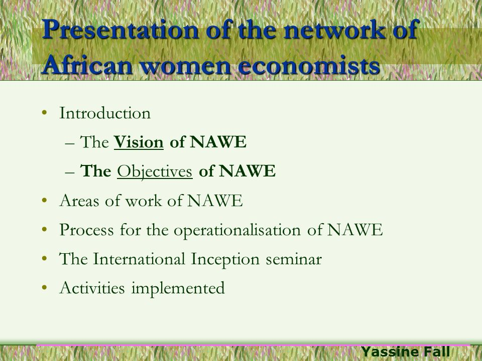 Presentation of the network of African women economists
