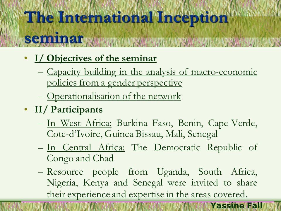 The International Inception seminar