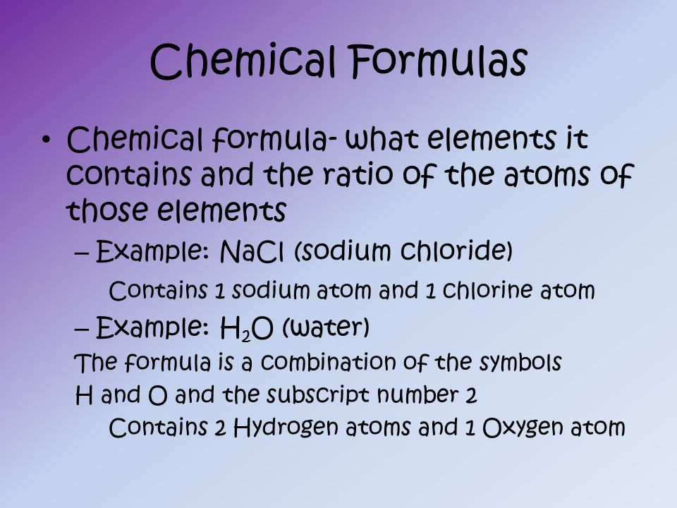 oxygen and chemical formulas Start studying chemical equations and formulas learn vocabulary, terms, and more with flashcards, games, and other study tools.