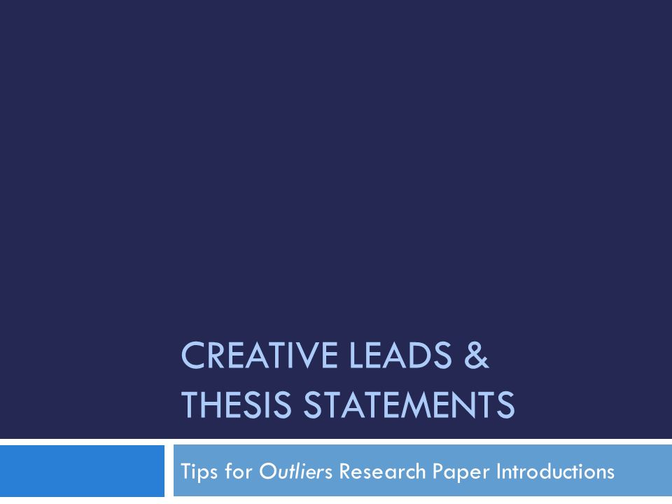 creative research paper introductions Tips for writing effective introductions including research papers  try to do it in a way that is creative and original.