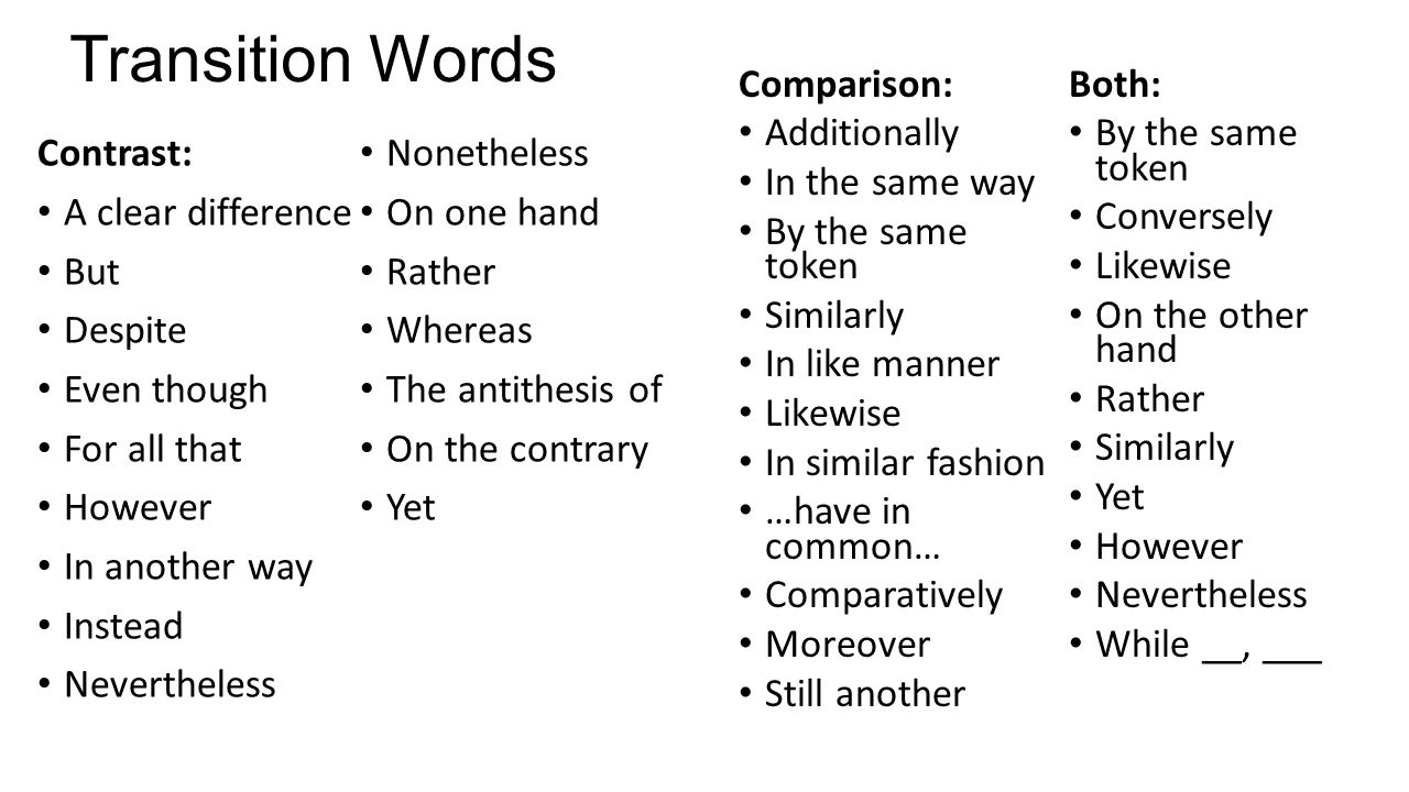 good transition words for comparison essays Online writing lab the following is a categorized list of transitional words that whereas, but, yet, nevertheless, by comparison, compared to.