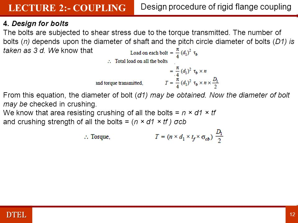 Design procedure of rigid flange coupling