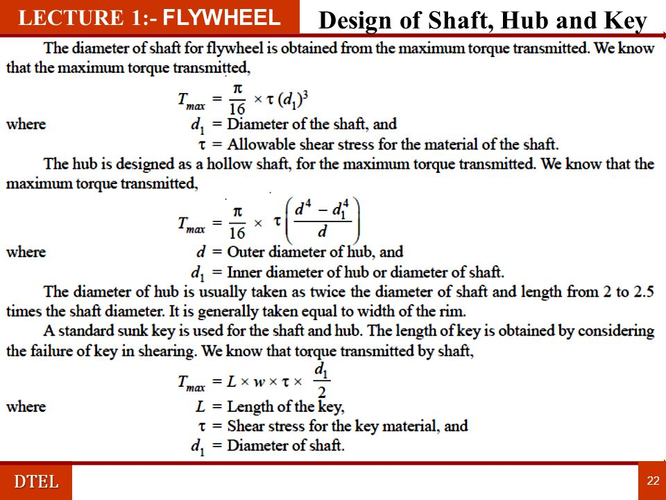 Design of Shaft, Hub and Key