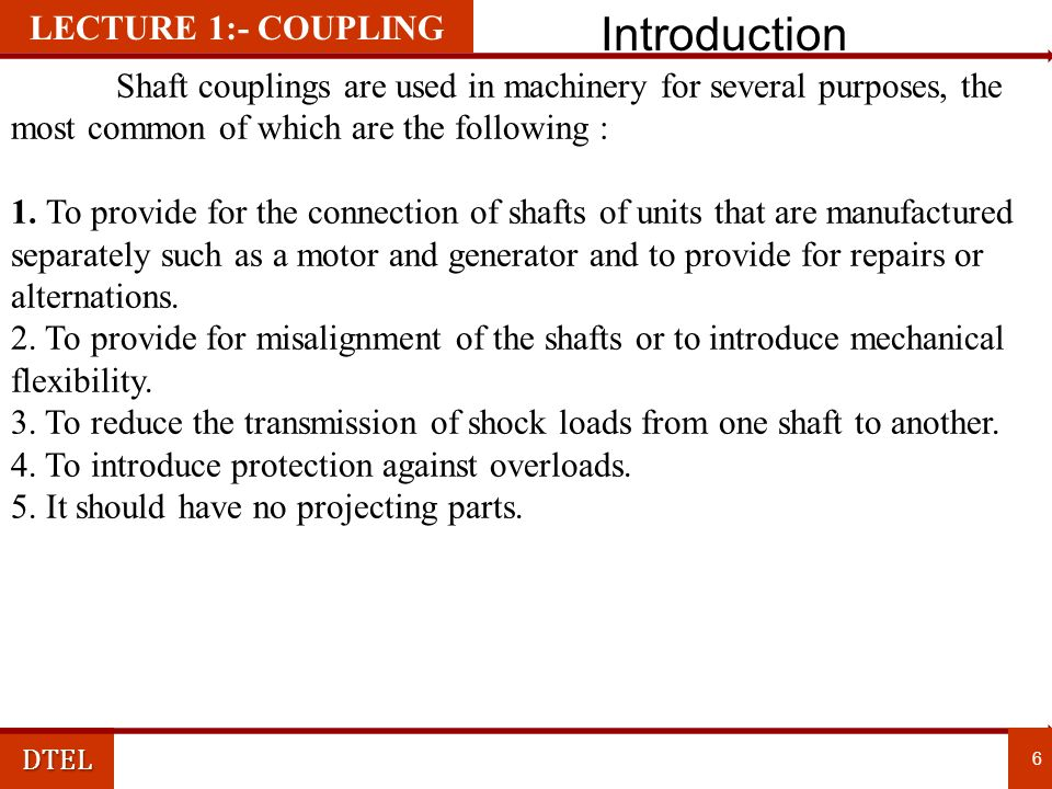 Introduction LECTURE 1:- COUPLING