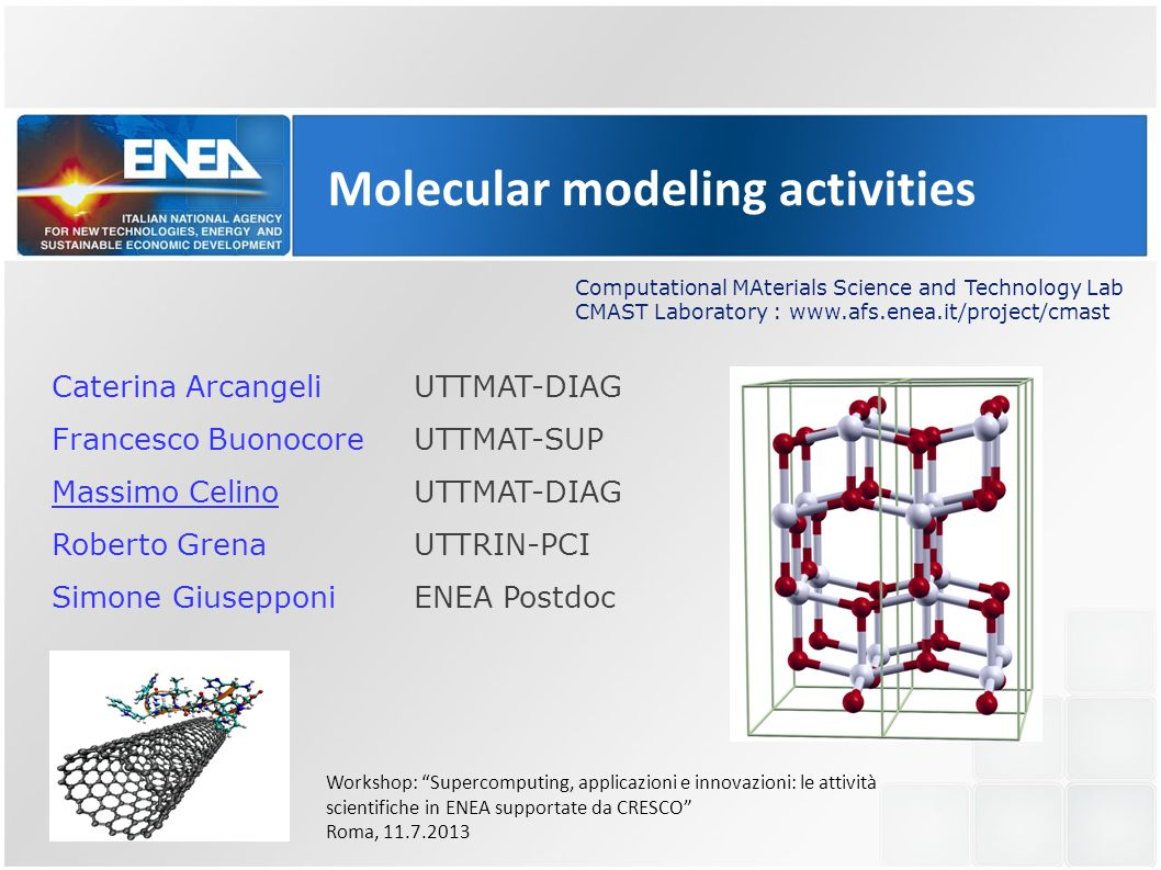 Molecular modeling activities