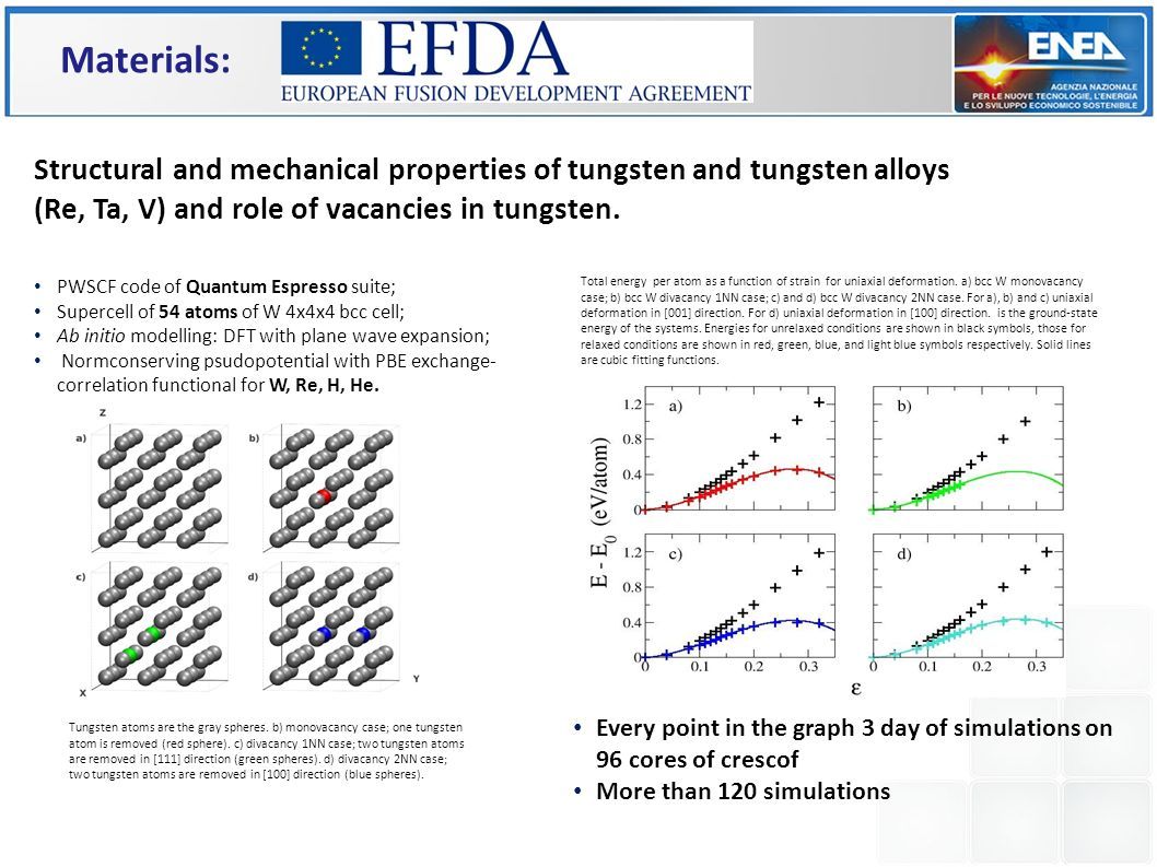 Materials: Structural and mechanical properties of tungsten and tungsten alloys (Re, Ta, V) and role of vacancies in tungsten.