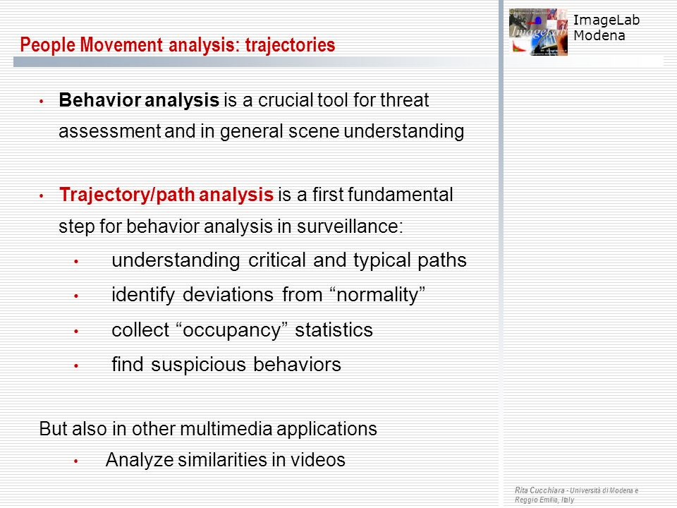 People Movement analysis: trajectories