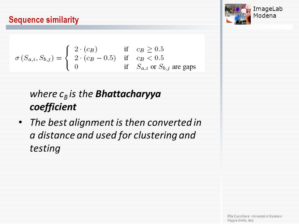 where cB is the Bhattacharyya coefficient