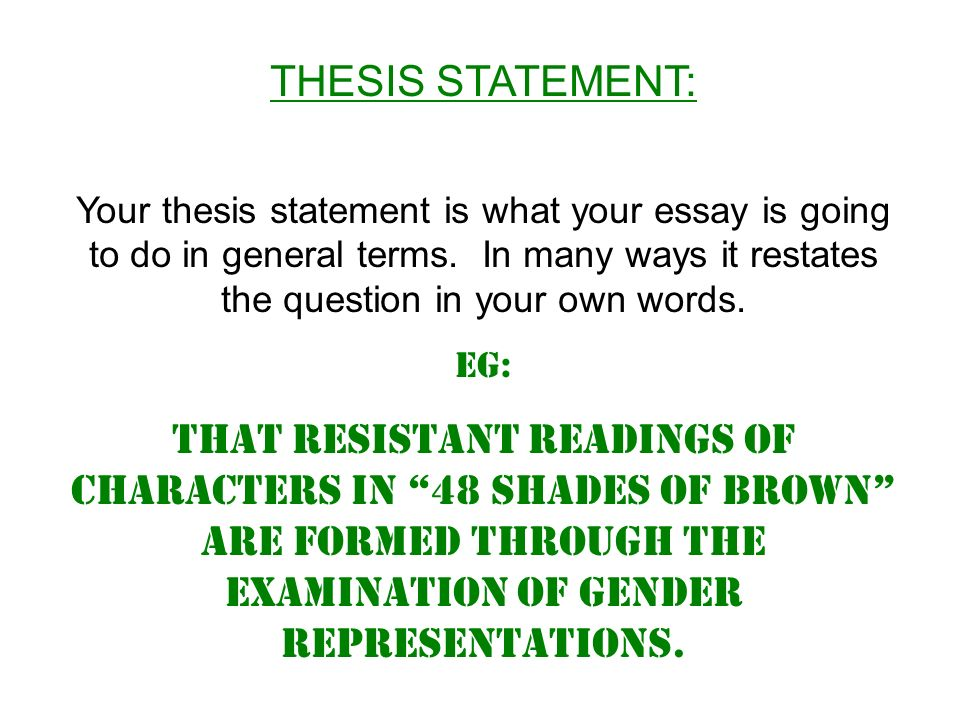 exam essay structure ppt video online  thesis statement your thesis statement is what your essay is going to do in general