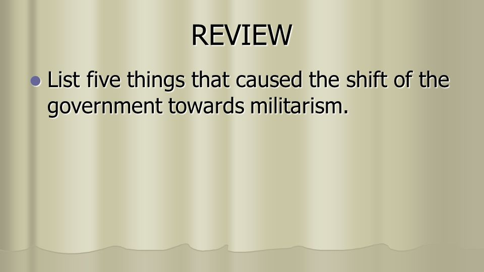 why did japan turn to militarism Essay on why did japan turn to militarism 749 words | 3 pages to militarism and drift away from democracy in the 1930s and the 1940s how did us occupation authorities seek to prevent japan from relapsing into the past system of military expansion  more about militarism caused wwii essay how hitler caused wwii essay 1159 words | 5 pages.