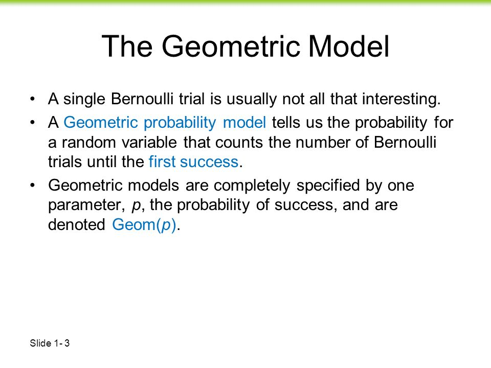 Using R for Introductory Statistics, The Geometric distribution ...