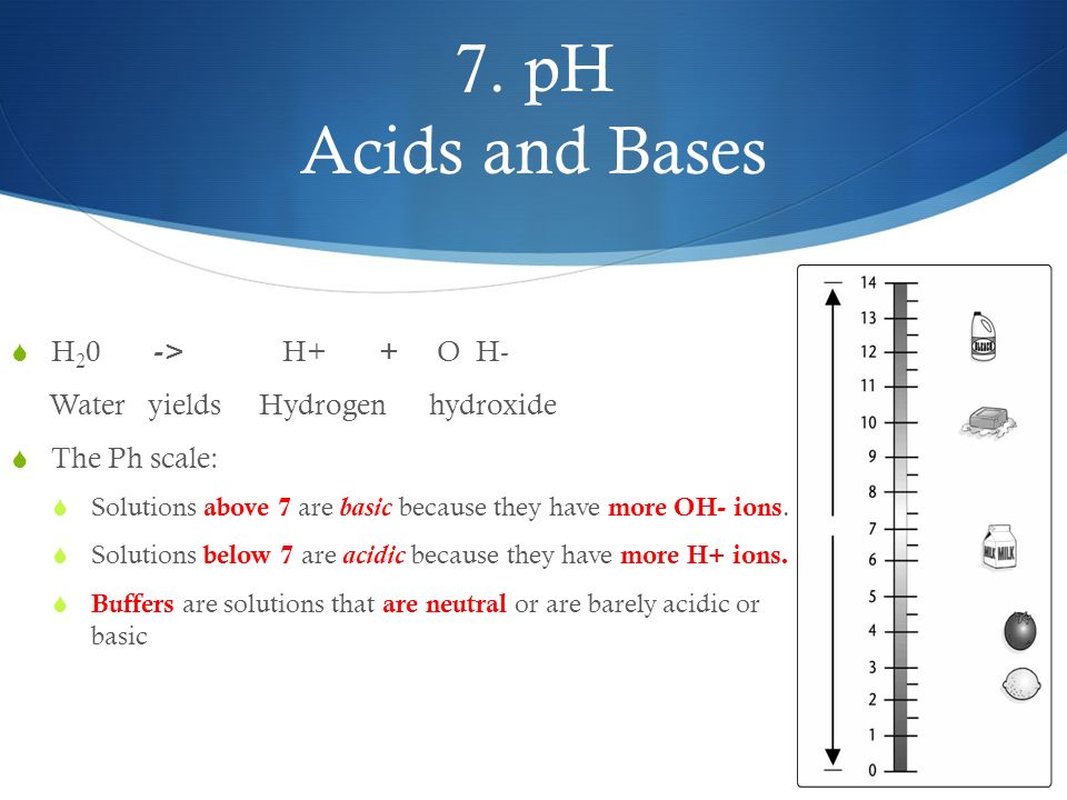 7. pH Acids and Bases H20 -> H+ + O H-