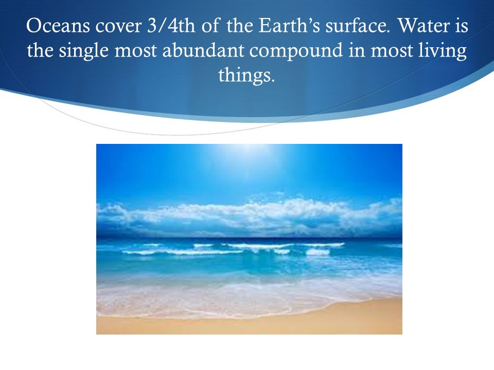 Oceans cover 3/4th of the Earth's surface