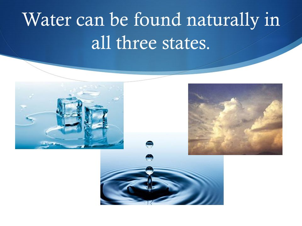 Water can be found naturally in all three states.