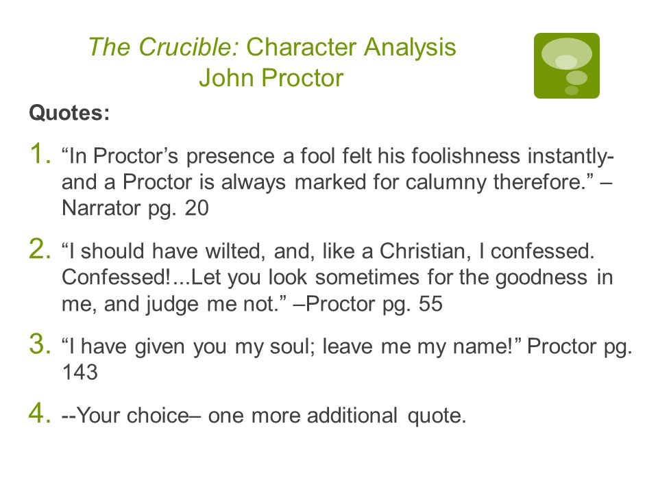 John proctor character analysis essay