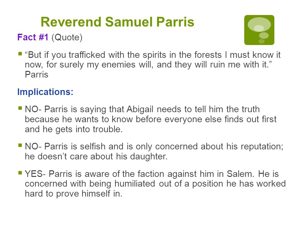 characterization of reverend samuel parris in the crucible