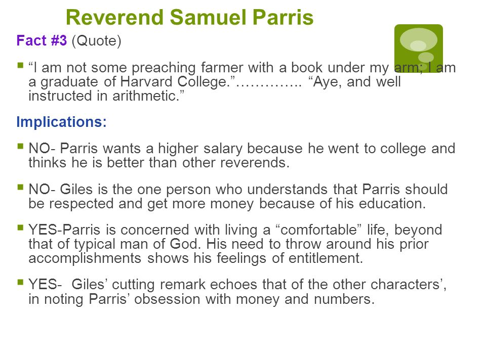 the characterization of reverend samuel parris