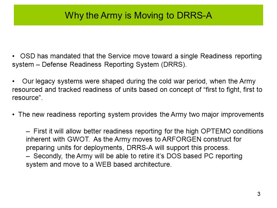 Unit level information brief ppt download why the army is moving to drrs a pronofoot35fo Choice Image