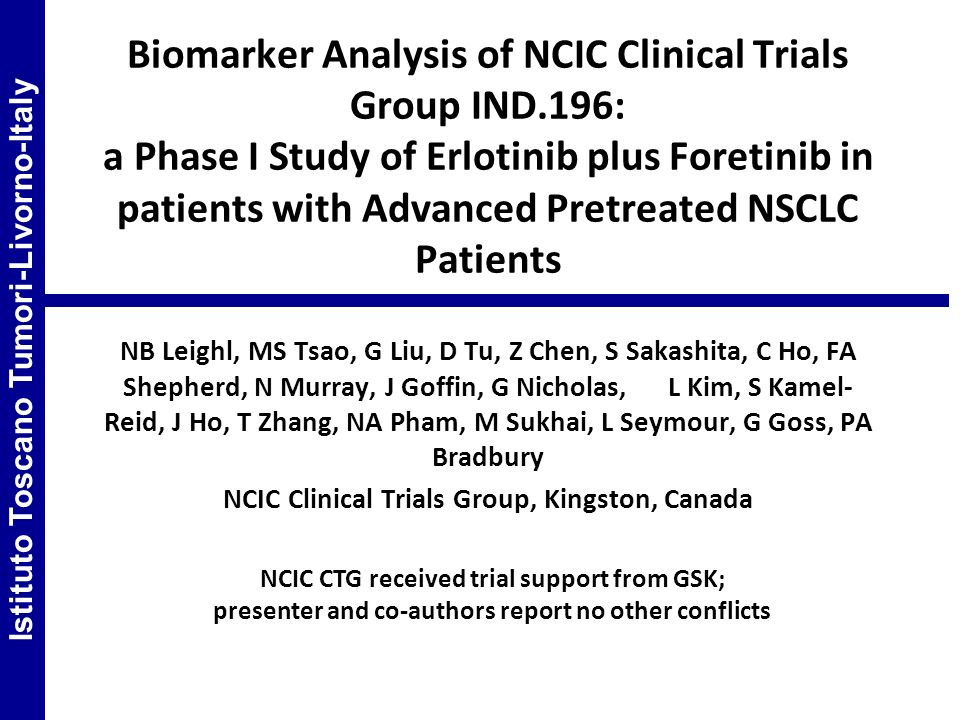 Biomarker Analysis of NCIC Clinical Trials Group IND
