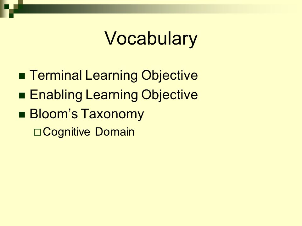 terminal course objectives essay Terminal objectives and enabling objectives - learning objectives, describe  results and not processes, supporting smaller, more manageable objectives.