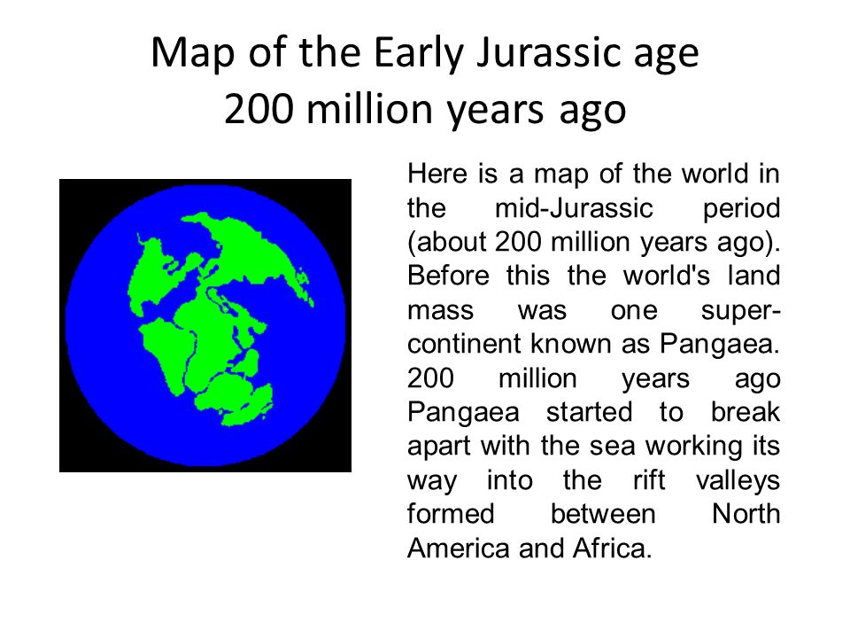 Map of the Early Jurassic age 200 million years ago  ppt video